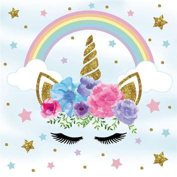 Laeacco Flower Rainbow Unicorn Party Baby Children Photography Backgrounds Customized Photographic Backdrops For Photo Studio