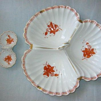 Herend Chinese Bouquet Hungarian Clamshell Platter Open Salt Pepper