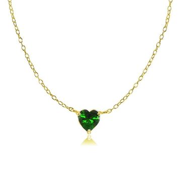 Dainty Simulated Emerald Small Heart Choker Necklace in Gold Plated 925 Silver