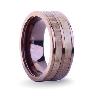 Real Whiskey Barrel Wood Twin Inlay Brown Titanium Wedding Ring