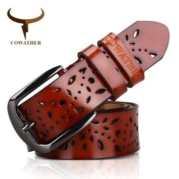 COWATHER Genuine Leather Hollow Pressed Flower Luxury Strap Female Pin Buckle