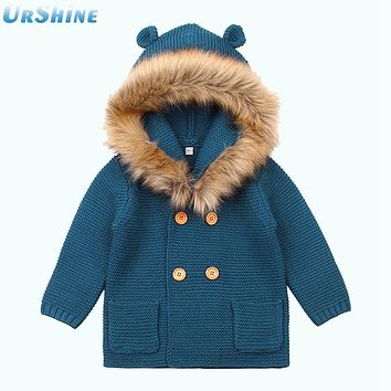 Winter Thermal Newborn Baby Sweater Cardigans Gray Autumn Long Sleeve Toddler Boys Knitted Jacket With Hood Girl 3D Bear Coat