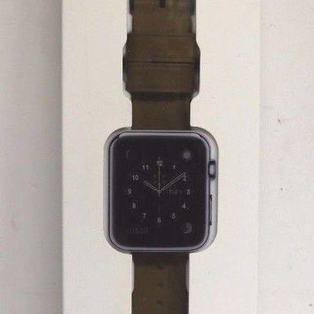 Monowear Brown Leather Band with Matte Dark Grey Adapter for 38mm Apple Watch