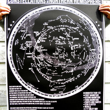 New  -GLOW in the DARK-  Constellations of the Northern Hemisphere star chart - hand pulled large screen print 22x28 inch Astronomy Poster