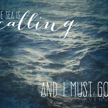typography art -  sea is calling - blue home decor - typography quote print - ocean decor - beach cottage art