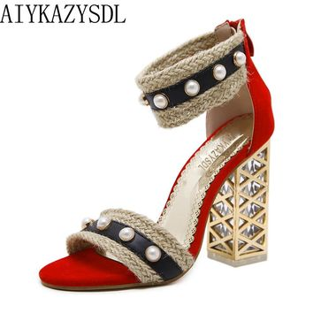 AIYKAZYSDL Women Sandals Transparent Block Thick Clear High Heels Straw Hemp String Bead Ankle Strap Shoes Cut Out Heels Party