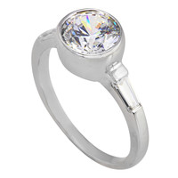 Womens CZ Ring Bezel Set .925 Sterling Silver 9mm Cubic Zirconia Rhodium