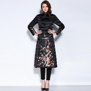 2016 winter Jacket Women Down Jackets chinese style embroidery Flower thin Women's  down coat Slim medium-long down Outerwear