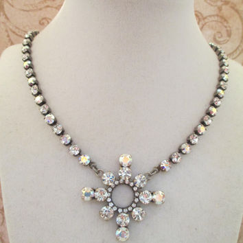 swarovski crystal snowflake necklace, WINTER WEDDING, stunning, aroura borealis, bridal, winter, custom made