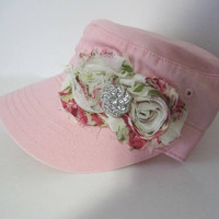 Youth Toddler Pink Cadet Military Cap with Multi Print Shabby Chiffon Flowers and Rhinestone Accent  Baby Hats Youth Caps Girls Accessories