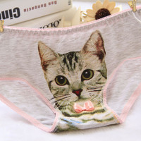 Hot 3D Kitty Cat Grey Panties