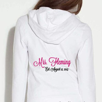 Mrs. Bride Bridal Hoodie with Date Personalized Hooded Sweatshirt Embroidered