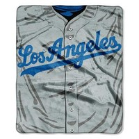 Los Angeles Dodgers MLB Royal Plush Raschel Blanket (Jersey Series) (50in x 60in)