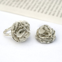 Whimsical Book Page Ring Flower on an Adjustable Base