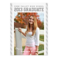 Silver Striped Collegiate Graduation Announcement from Zazzle.com