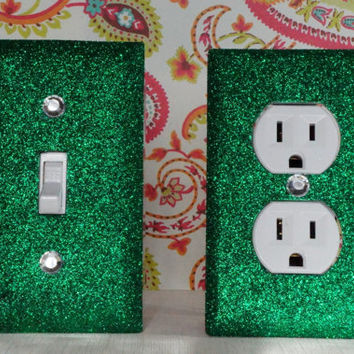 SET of FOREST GREEN Switch Plate / Outlet Covers Any Styles