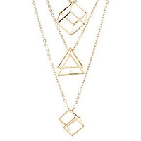 GEOMETRIC CUBE LAYERED NECKLACE