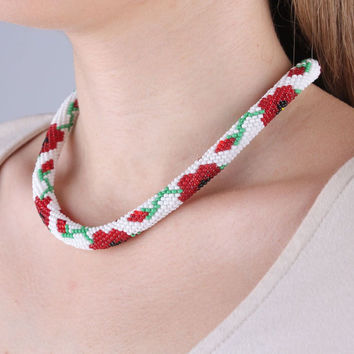 Beaded handmade stylish fashionable designer rope necklace with poppies pattern