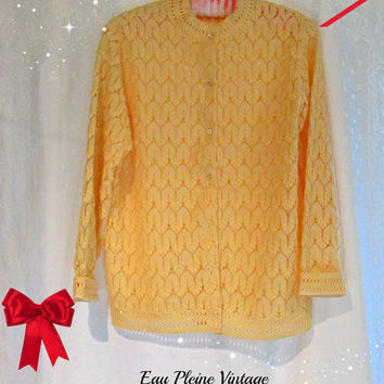 Open Weave Pointelle Womens Cardigan Sweater Lightweight Long Sleeved Yellow