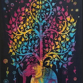 Tie Dye Tree of Life Elephant Tapestry