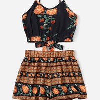 Folk-custom Floral Print Knot Back Cami Top With Shorts   SHEIN