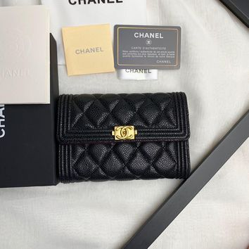 Kuyou Gb99822 Chan Multiple Wallet In Quilted Lambskin With Gold Cc Clasp 15x10x2.5cm