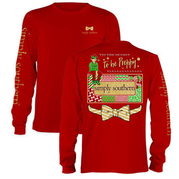 Simply Southern Tis The Season To Be Preppy Christmas Long Sleeve T-Shirt