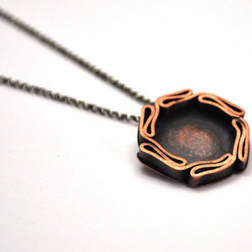 Fold Formed Copper Necklace, Circle Necklace, Oxidized Copper Pendant on Oxidized Silver Chain