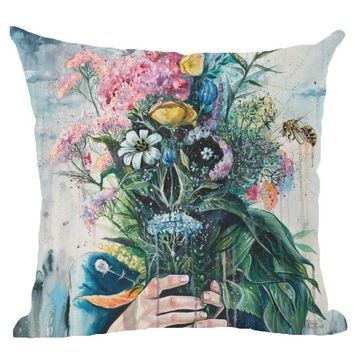 Punk Style Floral Skull Decorative Cushion Cover 45x45CM (18x18IN) Cotton Linen Square Throw Pillow Cover Decorative Pillow Cace