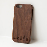 Wood iphone 6 case - real wood case, wooden iphone case, walnut iphone case, iphone 5, iphone 6, iphone 6 plus - Little Succulants