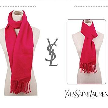 Authentic YSL Yves Saint Laurent 2015 Wool & Cashmere Unisex Winter Scarf Holiday Gift (Rose)