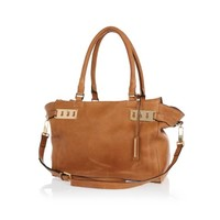 Tan leather slouchy tote bag