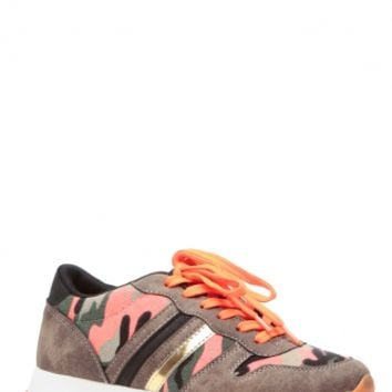 Pink Camo Lace Up Sneakers @ Cicihot Women Sneakers-Fashion Sneakers,Casual Sneakers,Wedge Sneakers,Platform Sneakers,Hidden Wedge Sneakers,High Top Sneakers,Lace Up Sneakers,Studded Sneakers,Buckle Sneakers