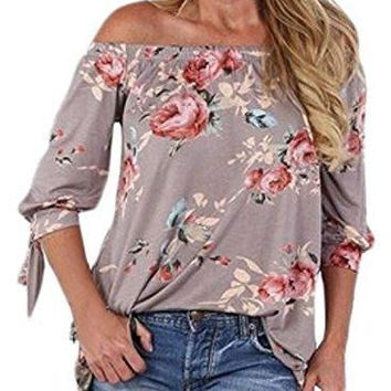 CANIKAT Womens Off The Shoulder Shirt Floral Print 3 4 Tie Sleeve Casual Blouse Tops SXXL