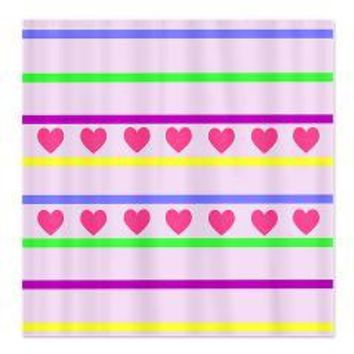 Colorful Hearts and Stripes Shower Curtain> Shower Curtains> We Tees You