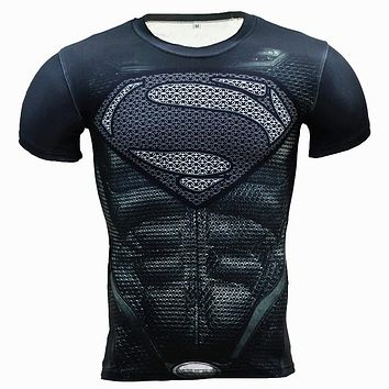 New Fitness Compression Shirt Men Anime Superhero Punisher Skull Captain Americ 3D T Shirt Bodybuilding Crossfit tshirt