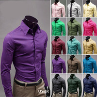 Slim Fit Multi Color Dress Shirt