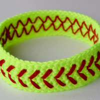 Crochet Softball Headband Neon Yellow -Girls/Womens Baseball Headband- Custom Sweatband -Large Team Orders Available- More Colors Available!