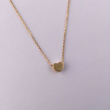 Block Heart Charm Necklace in Gold / Small Gold Heart Pendant Necklace