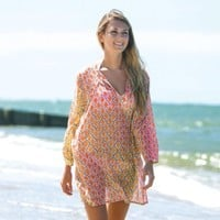 RockFlowerPaper Sumba Sheer Cotton Beach Tunic (Med/Lg, Orange)