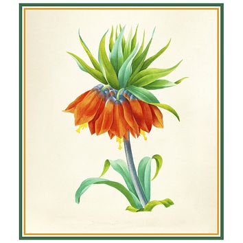 Fritillaria Flower Inspired by Pierre-Joseph Redoute Counted Cross Stitch Pattern