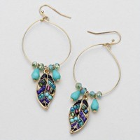 Falling for U Beaded Leaf Hoop Earrings