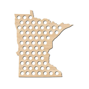 Minnesota Beer Cap Map - Craft Beer Cap Holder, MN Beer Cap Maps, Gifts For Him