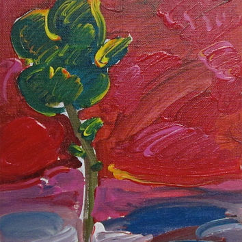Landscape with Tree, Acrylic Painting, Peter Max