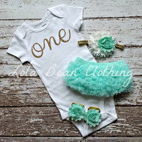 Baby Girl Baby Girl 1st Birthday Outfit Cake Smash Photography Props Gold One Onesuit Mint Bloomers Barefoot Sandals Gold White