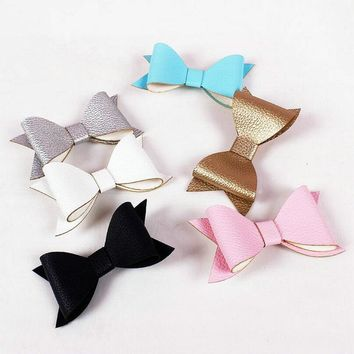 New Big PU leather Big Bow Hairpin Ladies Women Children Hairpins Hair Accessories Girls Baby Hairclips Gifts J55