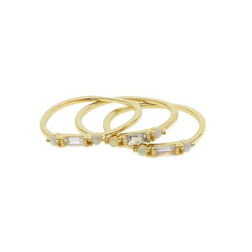 elegant Thin Lady Gold Stack Midi Mid Finger Knuckle cz opal Rings Set for Women Mid Finger Ring delicate dainty gold Thin Ring