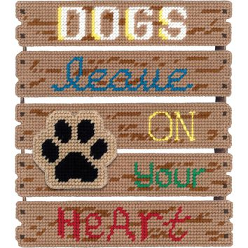 "Dogs Leave Pawprints/On Heart (7 Count) Janlynn Pallet-Ables Plastic Canvas Kit 10.5""X11.5""X1.25"""
