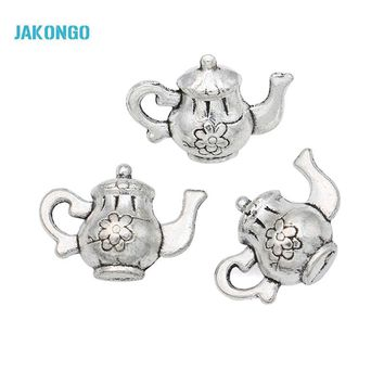 20pcs Hot Sale Antique Silver Tone Teapot Charms Pendants for Jewelry Making DIY Handmade Craft 17x12mm