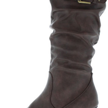 BRAND36 BROWN PU BUCKLE SLOUCH MID CALF BOOT